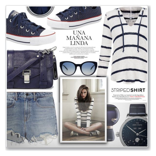 """""""navy striped"""" by nanawidia ❤ liked on Polyvore featuring Alexander Wang, Jaquet Droz, Splendid, Converse, Proenza Schouler, Lacoste, Tory Burch, polyvoreeditorial, stripedshirt and polyvorecontest"""