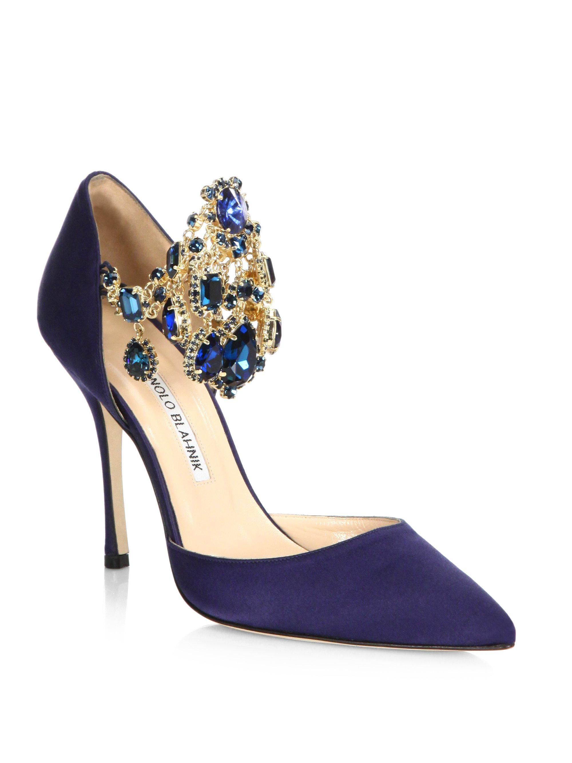 03ff38ac63fb Manolo Blahnik Zullin Jewel-cuff Satin Pump