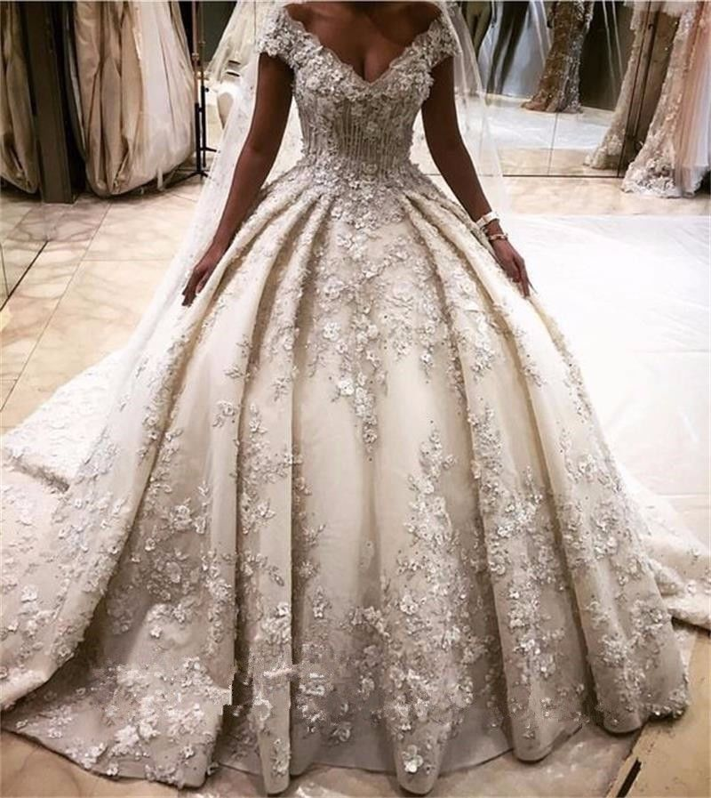 Ball Gown Long Sleeve Beaded Crystal Applique Watteau: Luxury Ball Gown Lace Wedding Dress Appliques V-Neck Cap