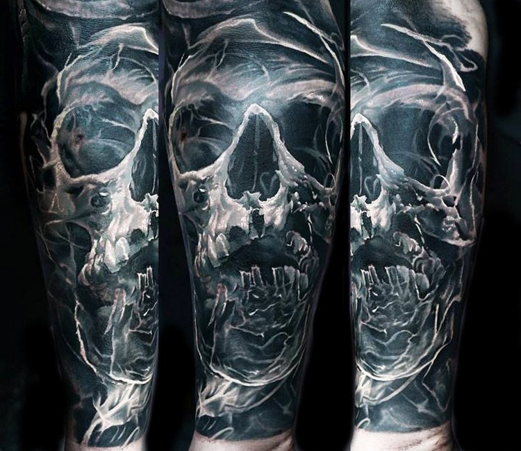 skull tattoo by domantas parvainis rattoo pinterest. Black Bedroom Furniture Sets. Home Design Ideas