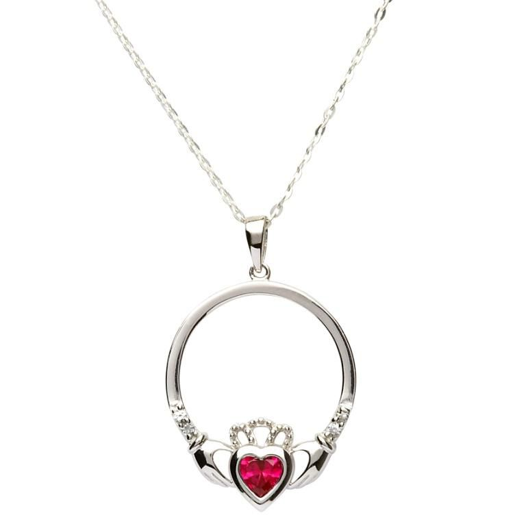 Claddagh Pendant Necklace For Women Birthstone Love Heart Irish Jewellery With Silver Chain f685Hp3H