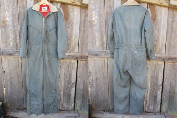80s grey winter coveralls by walls men s m women s l on walls insulated coveralls for women id=84684