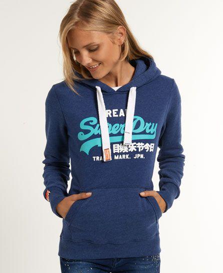 Womens Vintage Logo Hoodie In Ensign Marl Superdry Hoodies Women Hoodies Sweatshirts Hoodies Womens