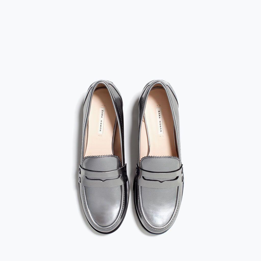 278b07fef0 Silver moccasins - Shoes - WOMAN | ZARA Czech Republic | Colour ...