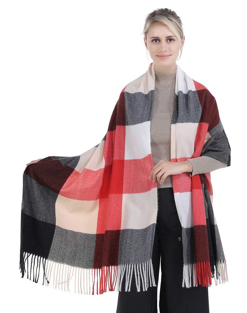 Soft Large Tartan Checked Print Scarf Wrap Winter Fringe Pashmina Tie