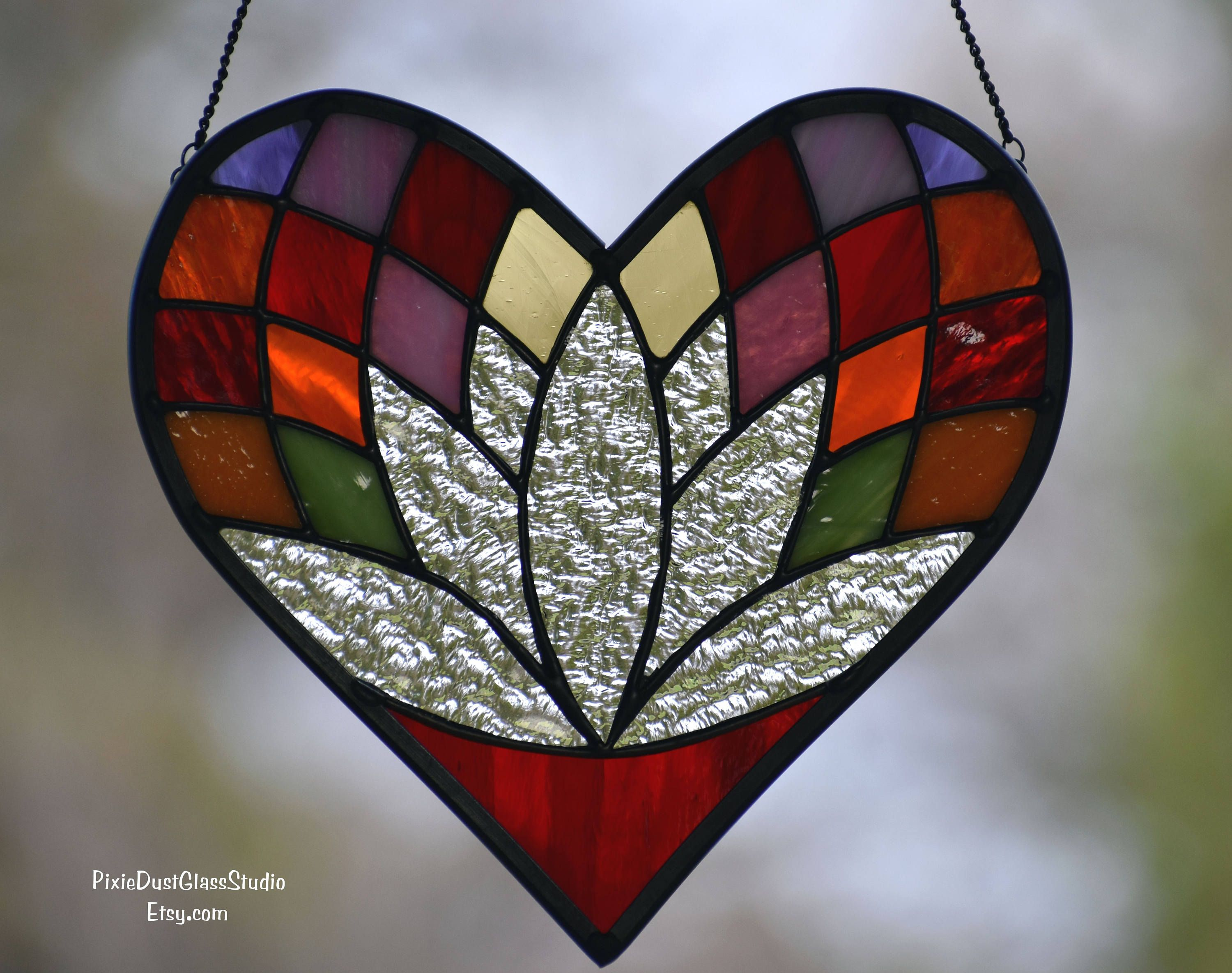 Stained Glass Suncatcher Heart Shaped Lotus Flower Window Hanging