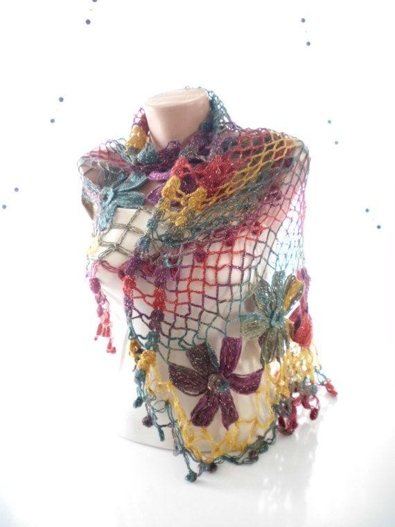 Rainbow SHAWL Handmade Flower Mohair Triangle by kKnittedFashion, $48.00