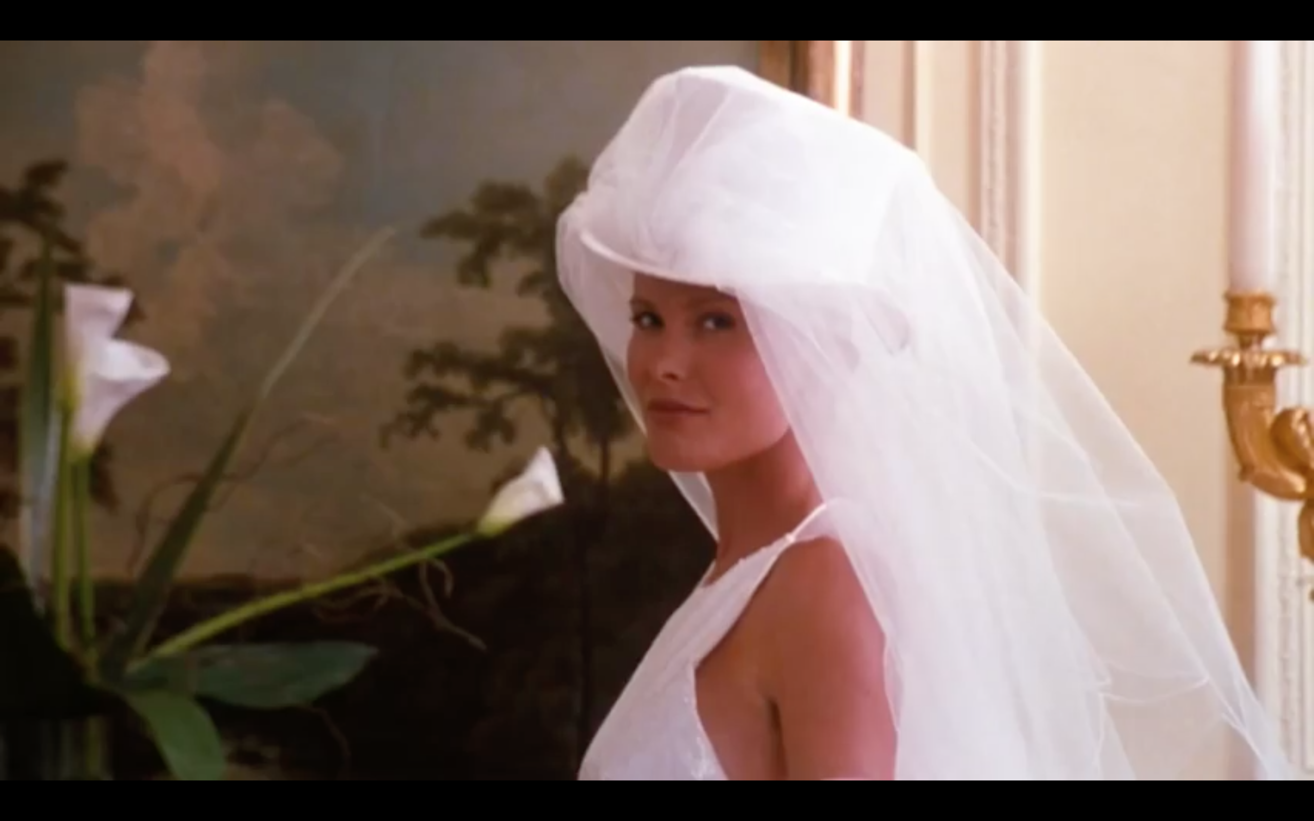 Top hat and veil in The Parent Trap wedding dress photoshoot scene ... 4ecd0d97d65