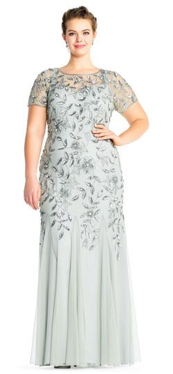 Adrianna Papell Floral Beaded Godet Gown With Short Sleeves