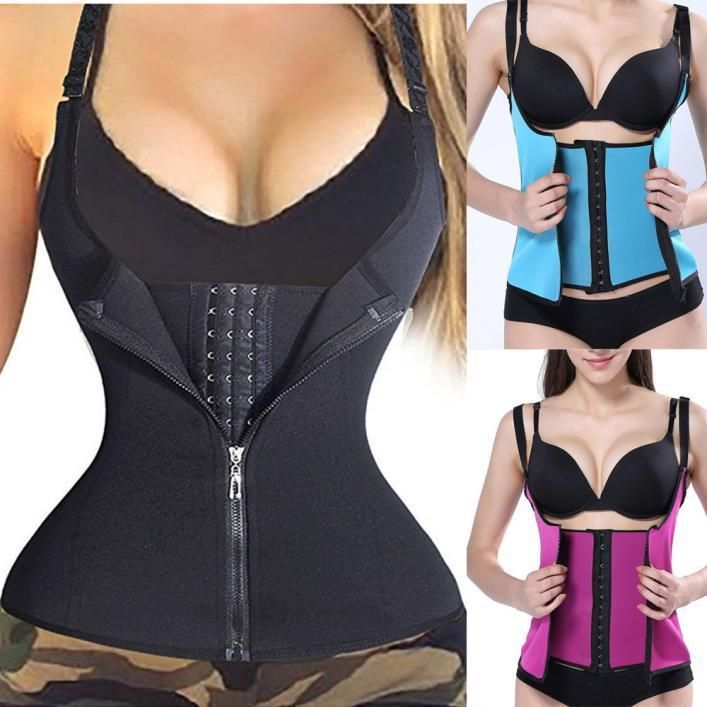 c2c4cd5fe2 Fashion Zipper Sweat Sauna Body Shaper Women Slimming Vest Waist Trainer  Corset  ebay  Fashion