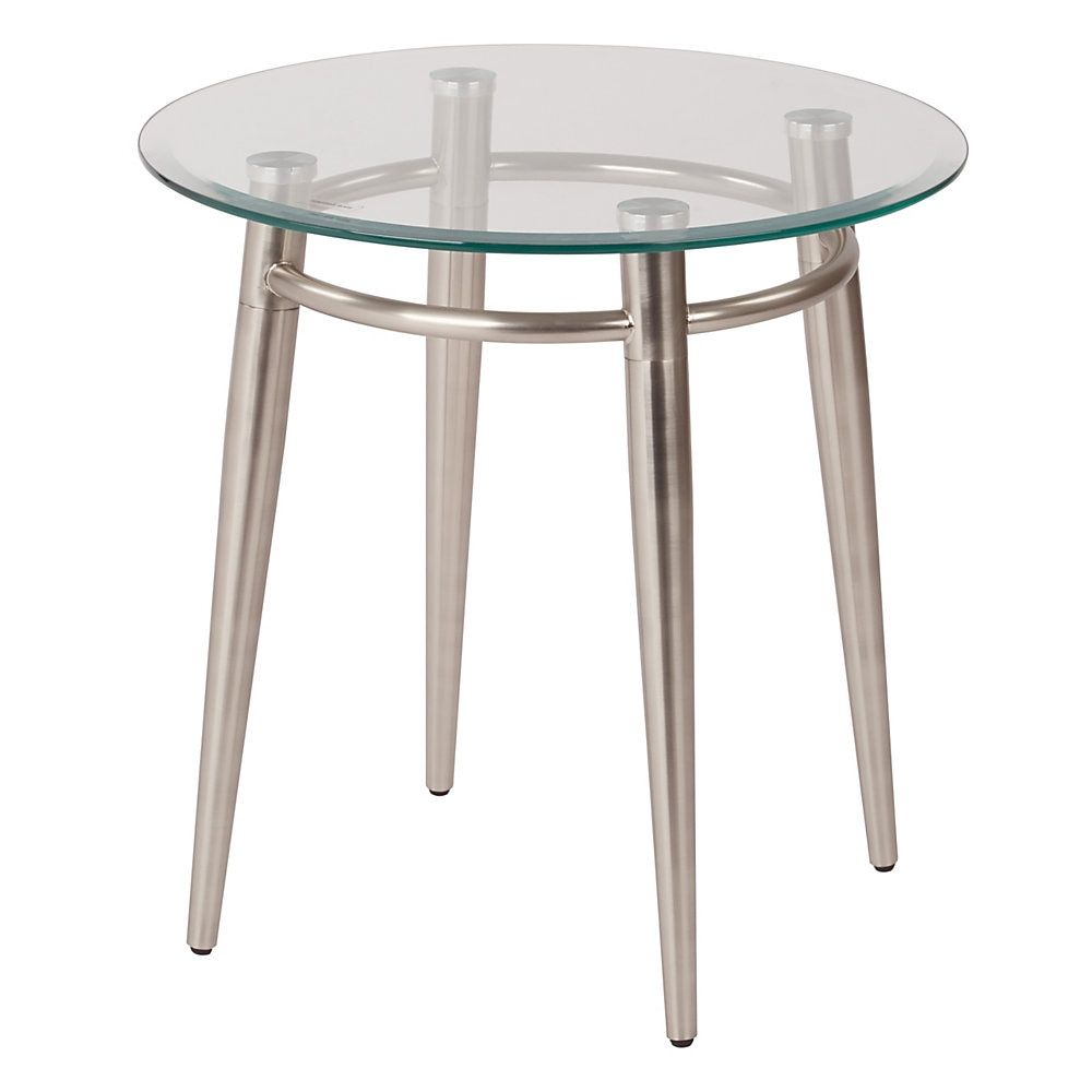 Ave Six Brooklyn Glass Top Table With Metal Frame Round Coffee