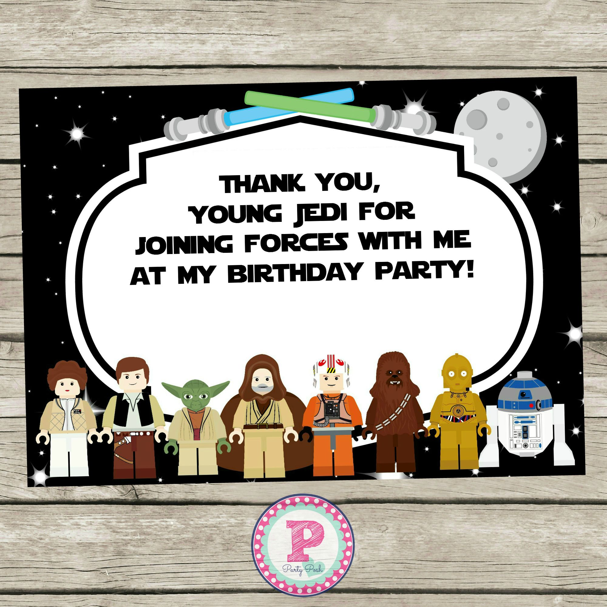 lego star wars birthday party thank you cards. thank you young, Einladungen