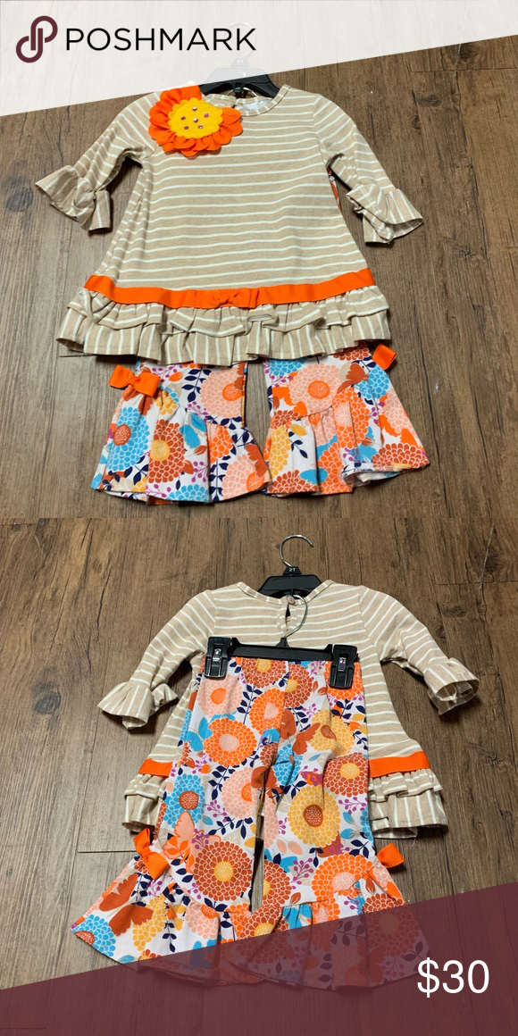 076fa57283257 Orange and tan girls outfit Stripes and floral orange and tan girls outfit Rare  Editions Matching