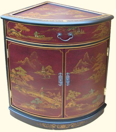 Oriental Corner Cabinet Hand Painted Red and Black & Gold ...