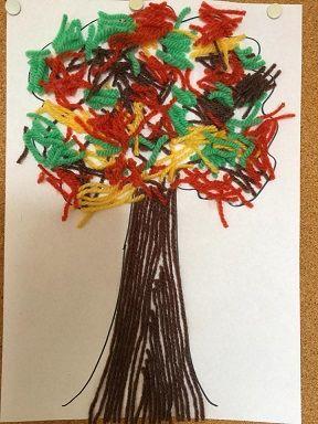 un arbre d 39 automne avec de la laine arbre bricolage. Black Bedroom Furniture Sets. Home Design Ideas