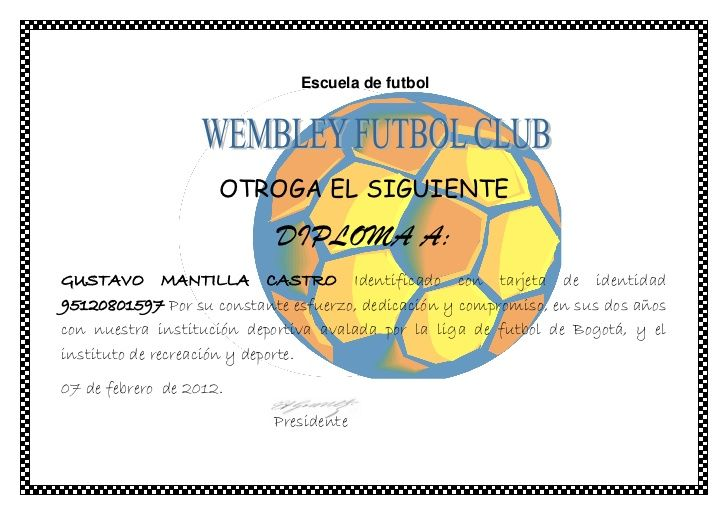 Diploma escuela de futbol diplomaa Pinterest Diplomas, Fútbol