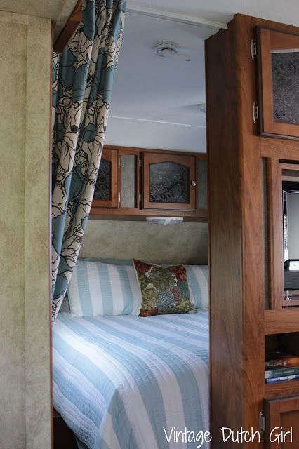 Vintage Dutch Girl: Travel Trailer Makeover, Part 8: Master Bedroom And Privacy  Curtains