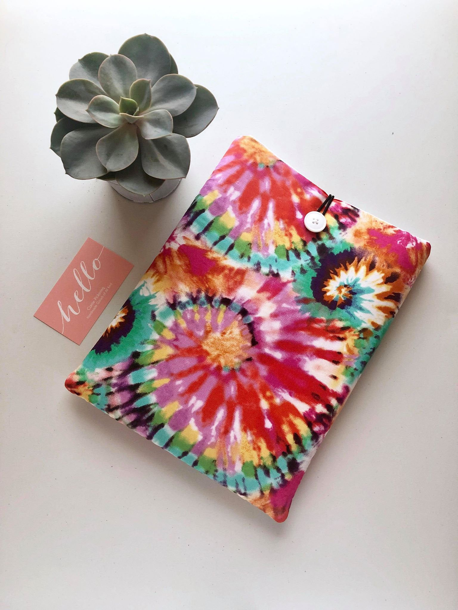Tie Dye / Book Sleeve / Padded Book Sleeve / Button