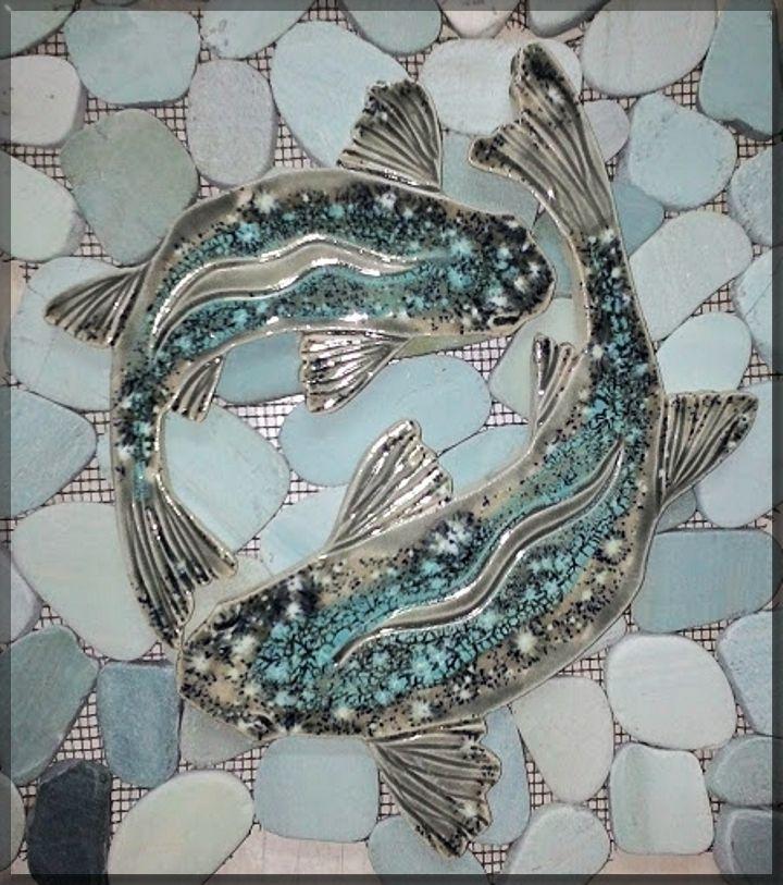 Sea Bass Shaped Mosaic Tiles For Sliced Pebble Shower