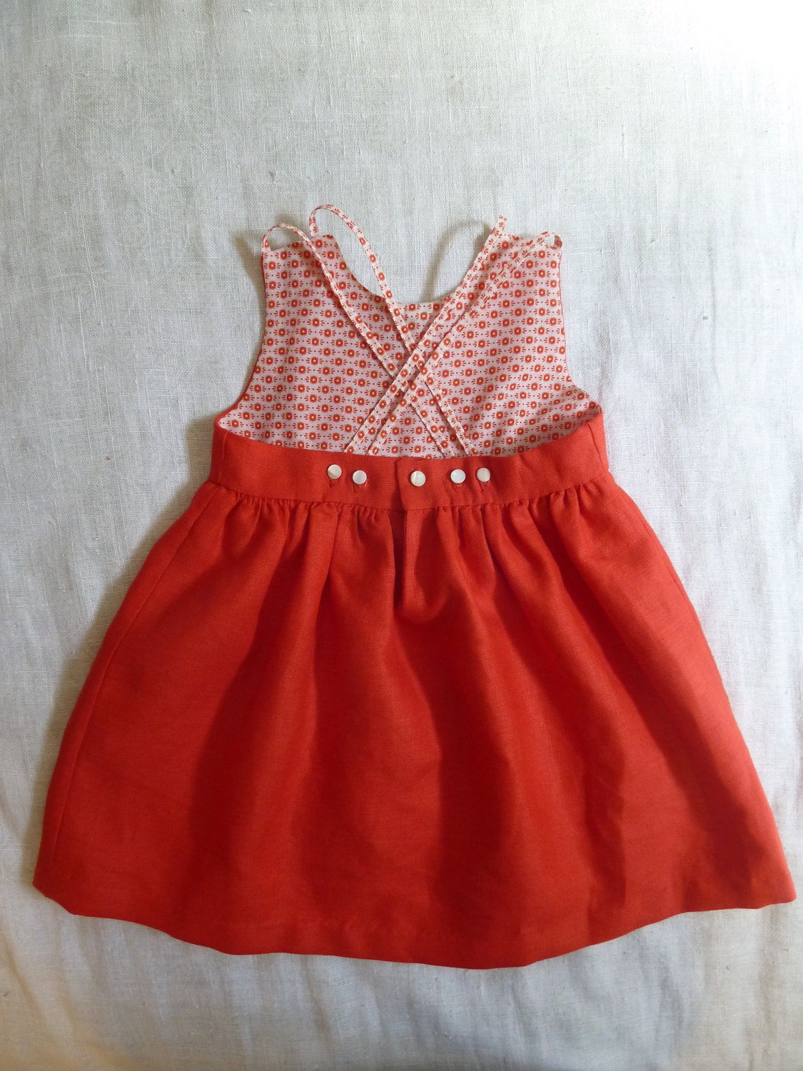 Made to Order Red Linen Dress for little h   For The ...