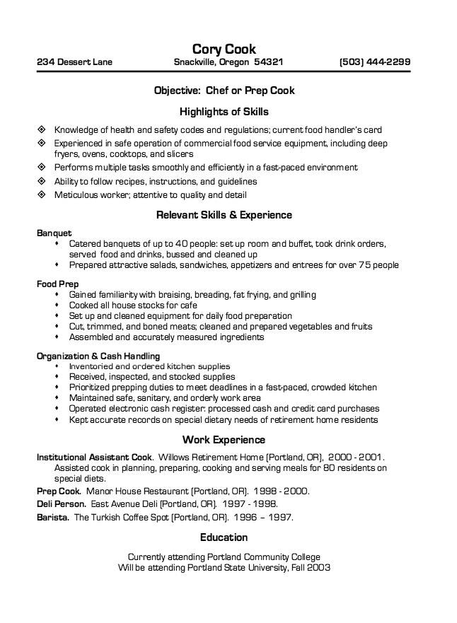 Restaurant Cook Resume Sample Resumesdesign Chef Resume Job Resume Examples Resume Objective Examples