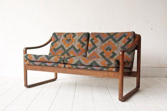 Gunlocke Mid Century Sofa Loveseat Wood Frame Furnished