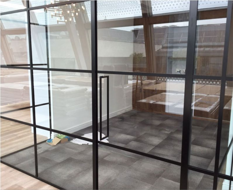 Industrial Style Black Framed Partition Industrial Style Glass