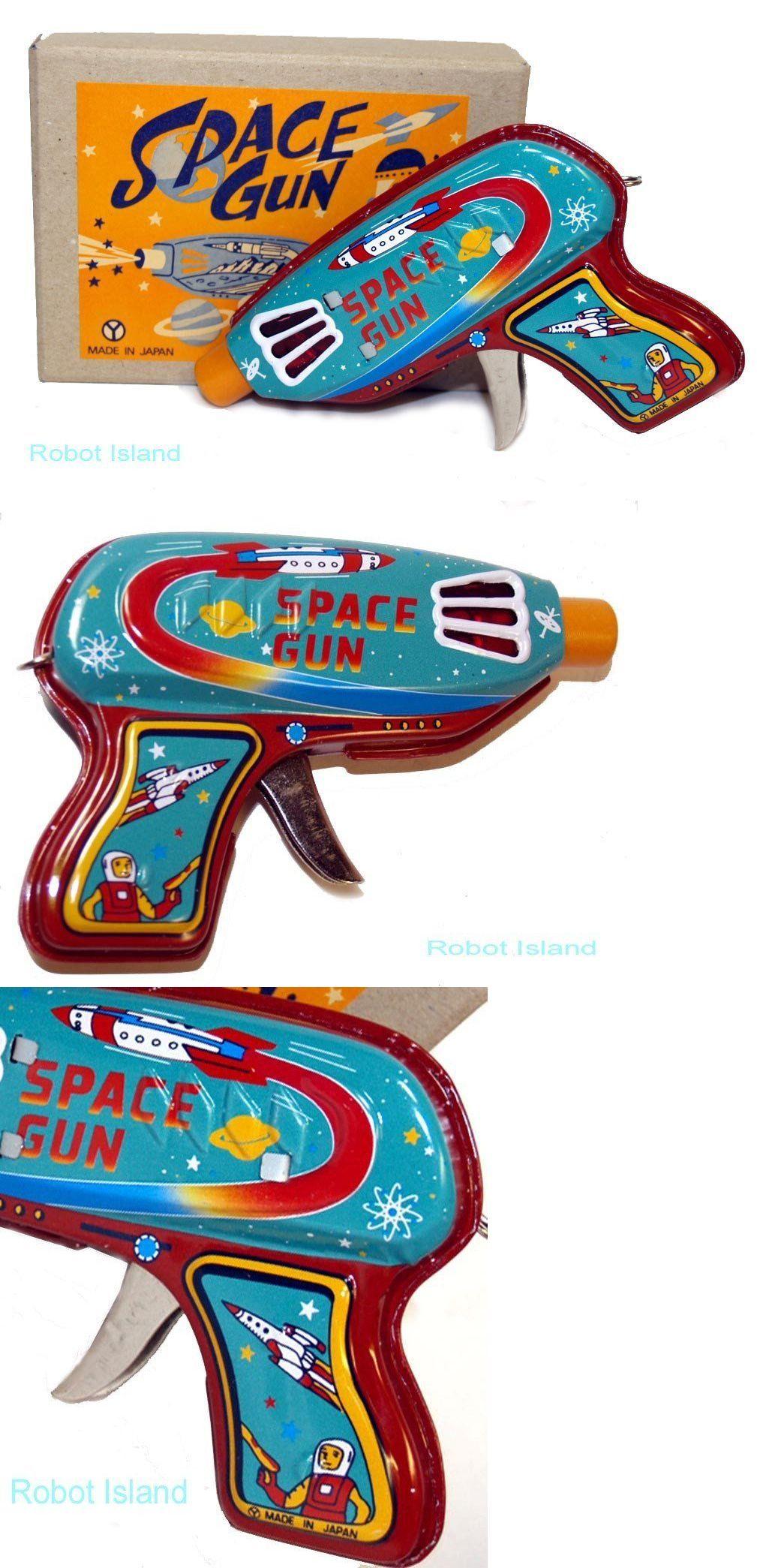 Vintage Style Japan Space Gun Tin Toy Yonezawa Senko Ray Gun dark blue version