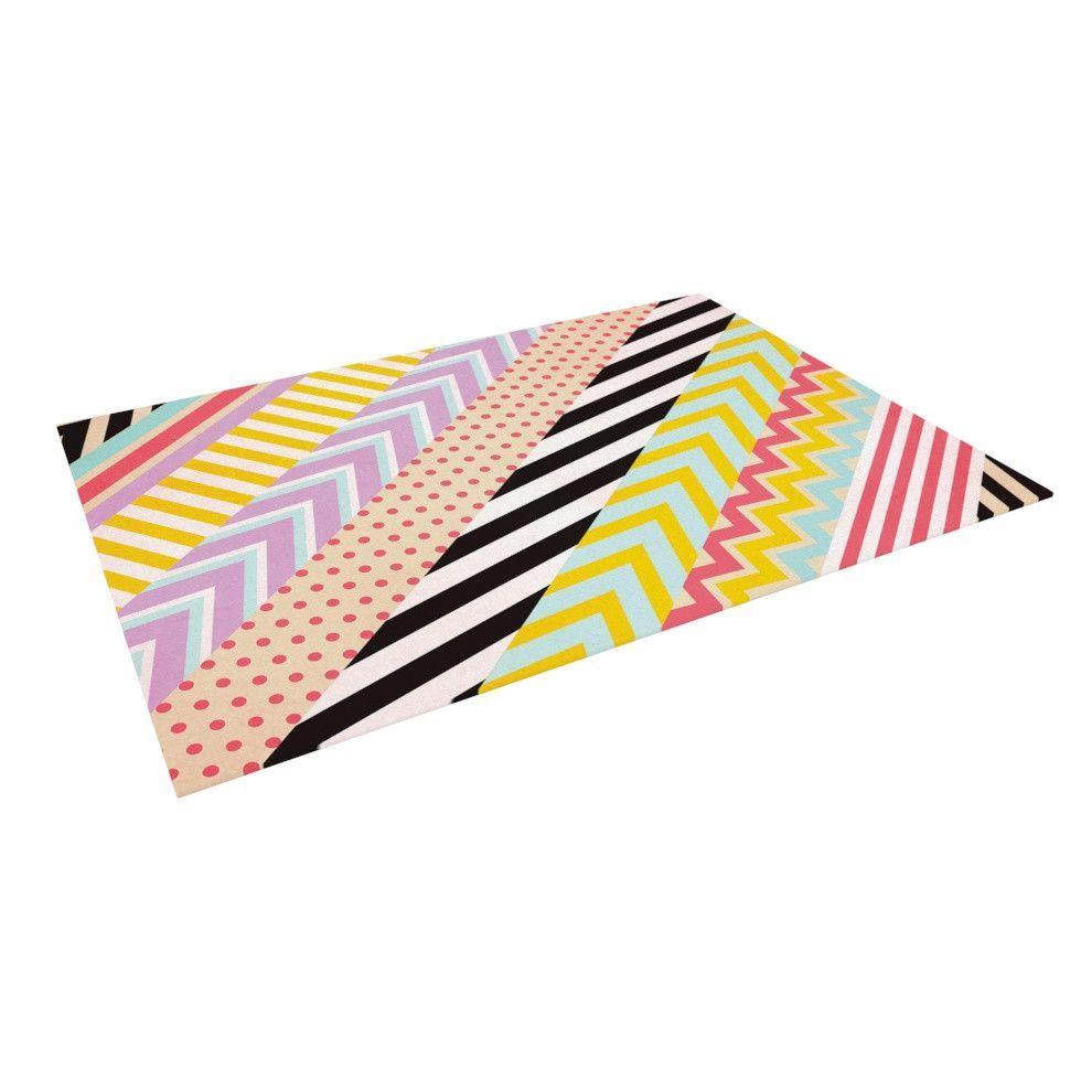 "Louise Machado ""Diagonal Tape"" Multicolor, Geometric Indoor / Outdoor Floor Mat"