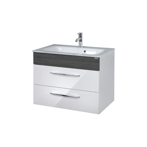 Sceno 80cm Wall Mounted Vanity Unit Fackelmann Vanity Base Colour Weiss Anthrazit Wall Mounted Vanity Classic Bathroom Furniture Vanity Units