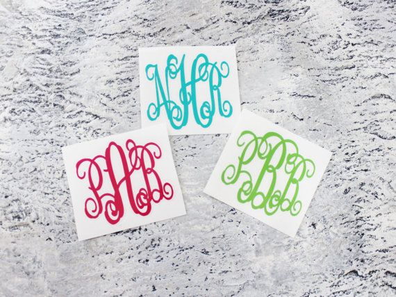 3 letter vine monogram decal for yeti colsters tumblers coolers window stickers laptop stickers phone case stickers