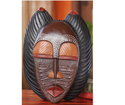 Handcrafted Ghanaian Wood Mask, A Good Mother