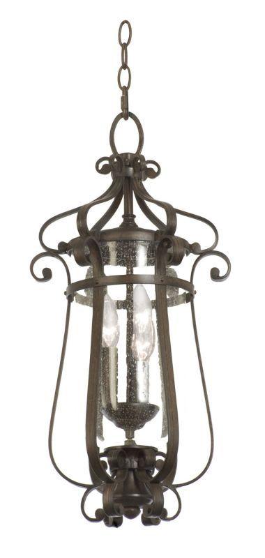 Kalco 9235 Hartford Outdoor 3 Light Medium Hanging Lantern Burnished Bronze Outdoor Lighting Pendants Lantern