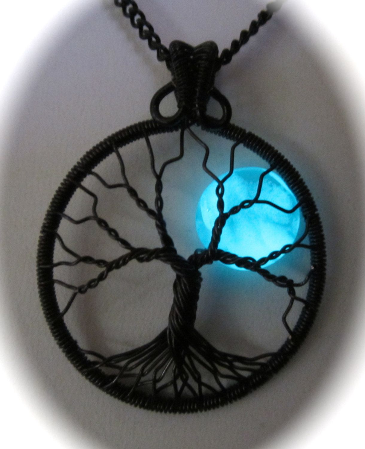 Little Glowing Blue Moon Tree of Life,  Made to Order for You a Blue Moon Tree of Life Wearable Art, Wire Wrapped Tree, Moon of My Life by Mariesinspiredwire on Etsy
