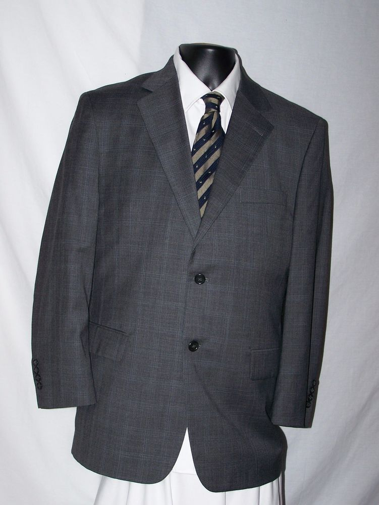 Pronto Uomo Gray Wool Fully Lined Two Button Suit Size 43R  #ProntoUomo #TwoButton