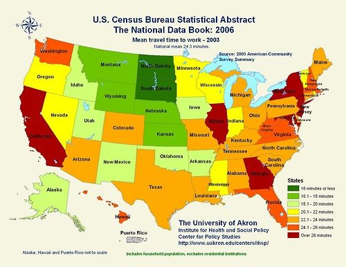 Mean travel time to work by US states Maps Pinterest