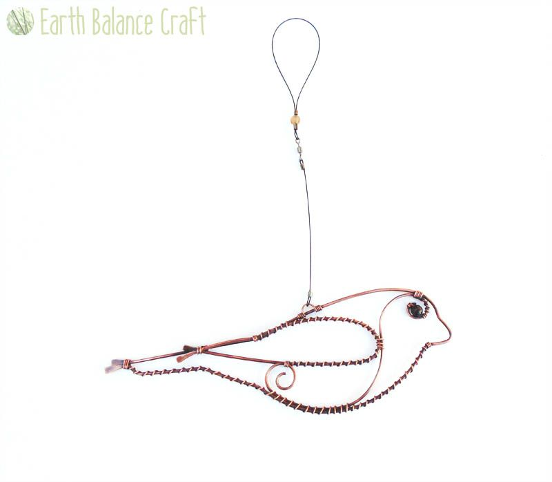 Hanging Pictures On Wire bullfinch decoration - this copper wire hanging decoration