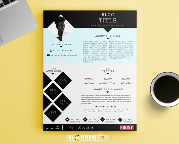 One Page Media Kit Template Press Kit Template