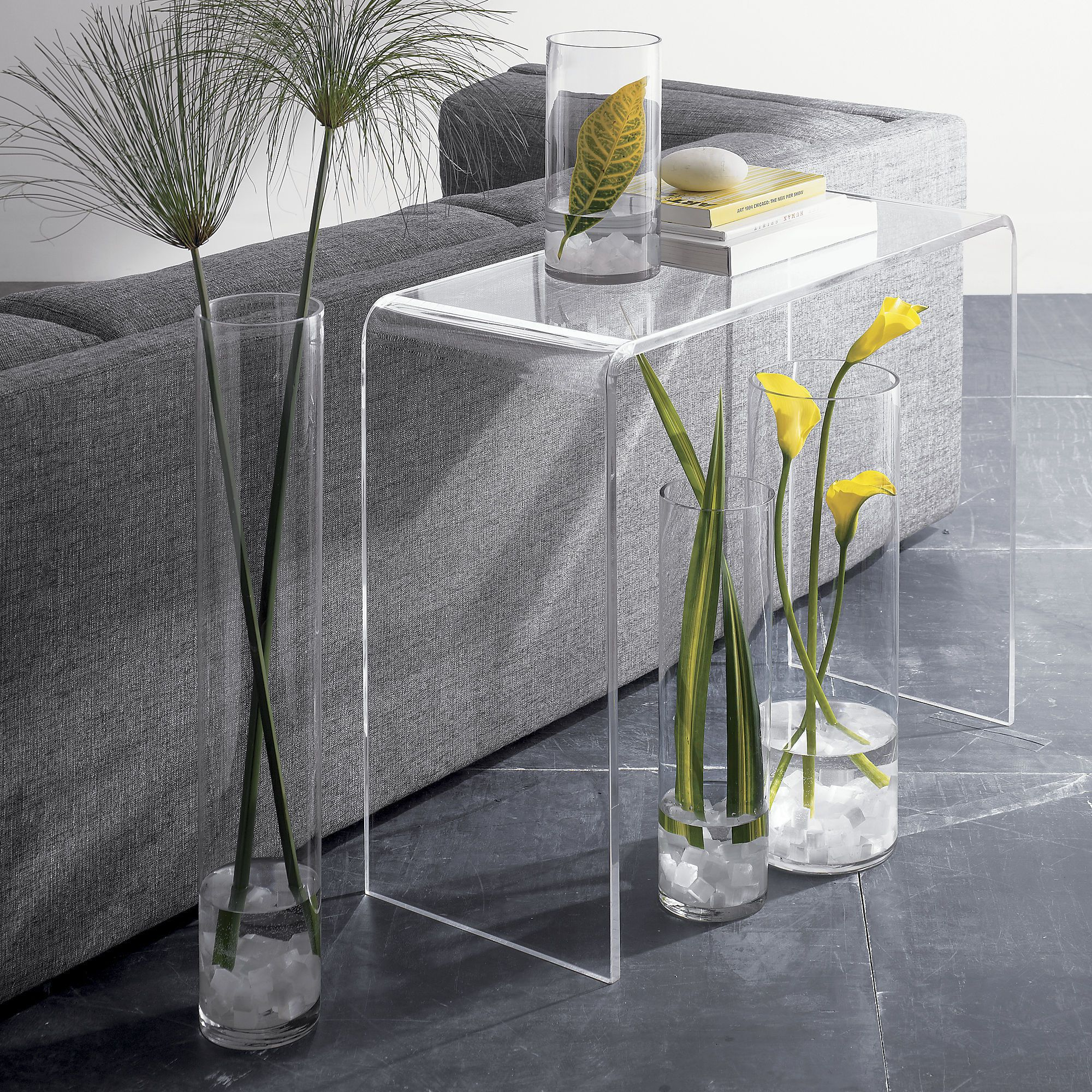 This clear acrylic console table features a waterfall edge for Used acrylic coffee table