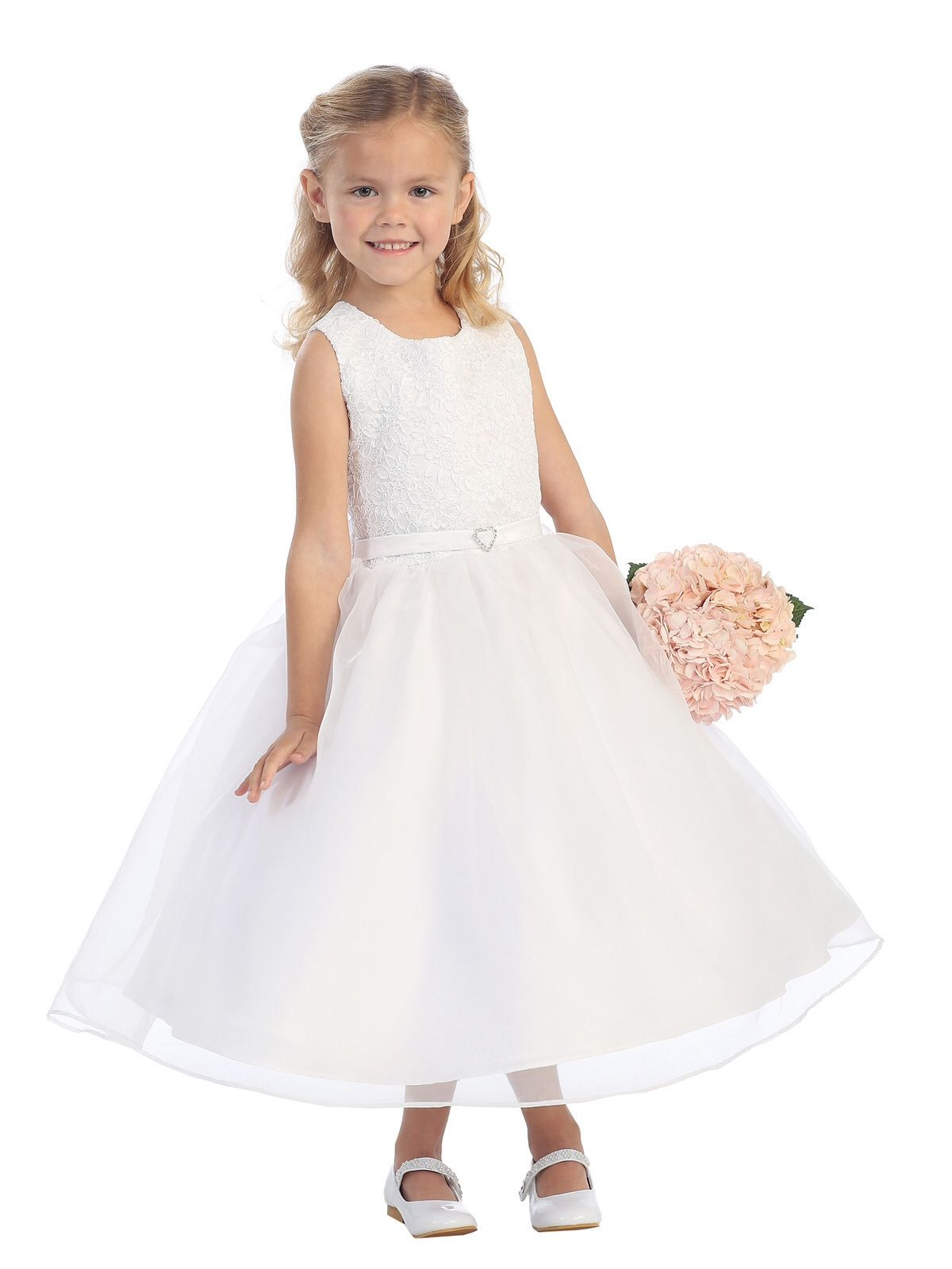 Tip Top 5571 Lace Flower girl Dress in Ivory or White Size 2-14 ...