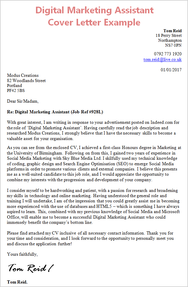 Cover Letter Digital Marketing  Free Digital Marketing