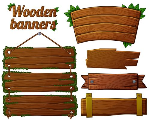 f8d615abdcb Different shapes wooden banners vector 03