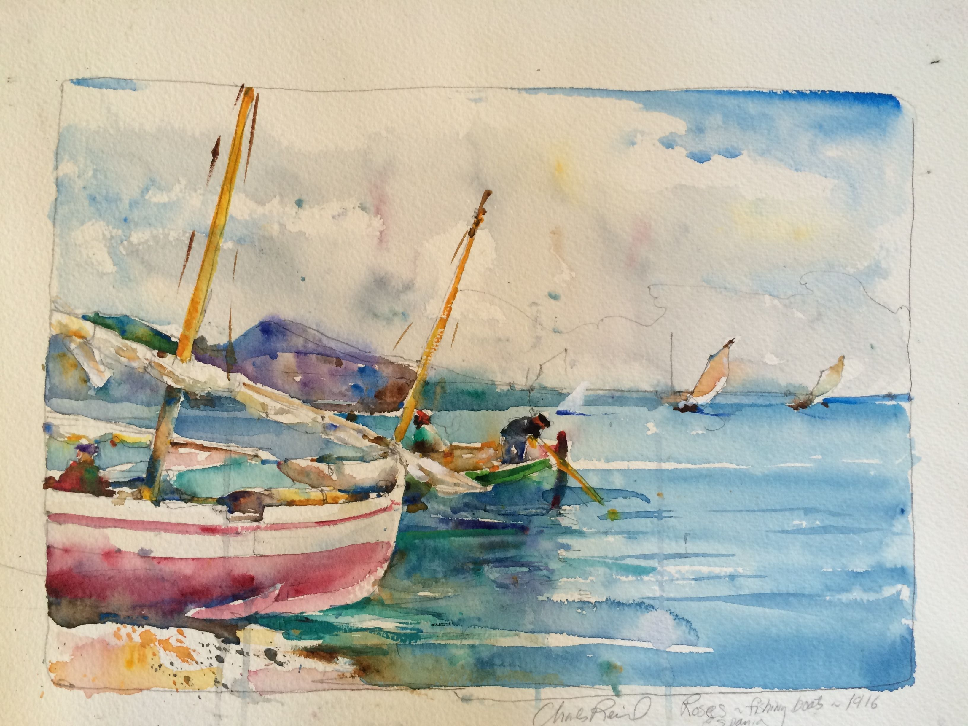 Spanish Boats Watercolor By Charles Reid Artist Watercolor Art