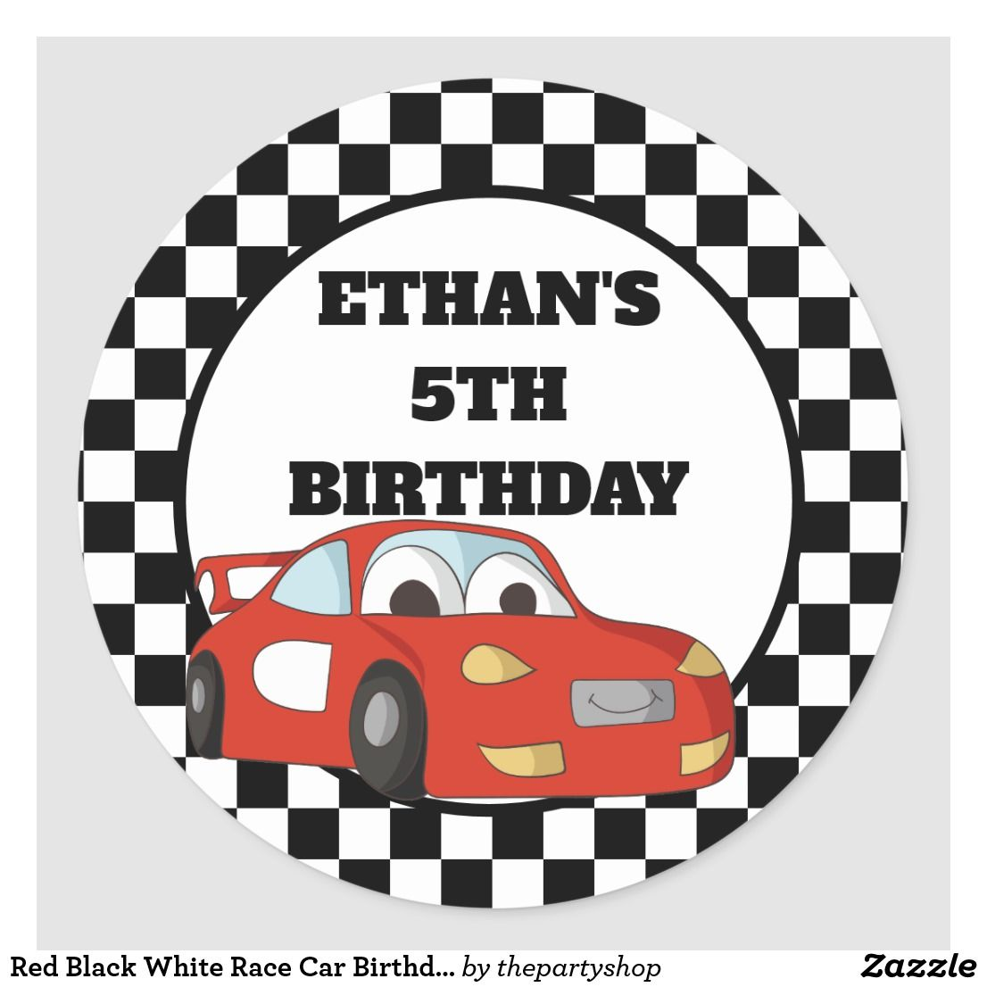 Red Black White Race Car Birthday Party Classic Round Sticker Zazzle Com Race Car Birthday Party Race Car Birthday Cars Birthday Parties [ 1106 x 1106 Pixel ]