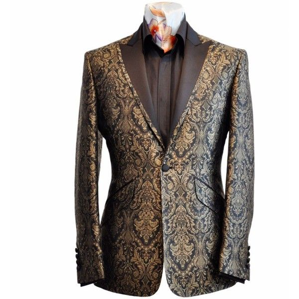 William Hunt Mens Black Gold Brocade Silk Lapel Jacket ( 540) found on  Polyvore f03b8543c10