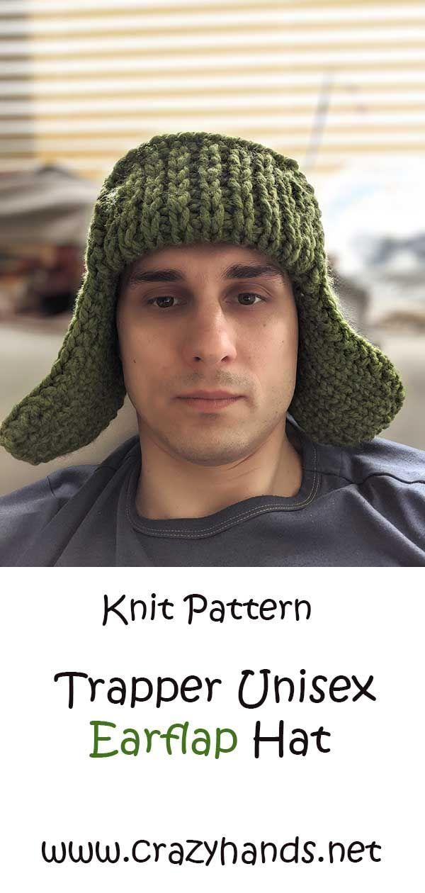 Trapper Unisex Earflap Hat in 2020 | Hats, Knitting ...