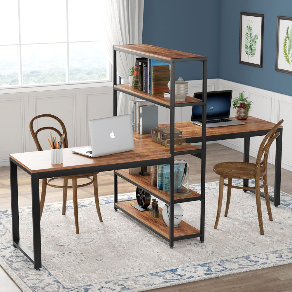 Tribesigns 90 Inches Computer Desk With Bookshelf Double Face Face Workstation Desk In 2020 Bookshelf Desk Home Desk Home