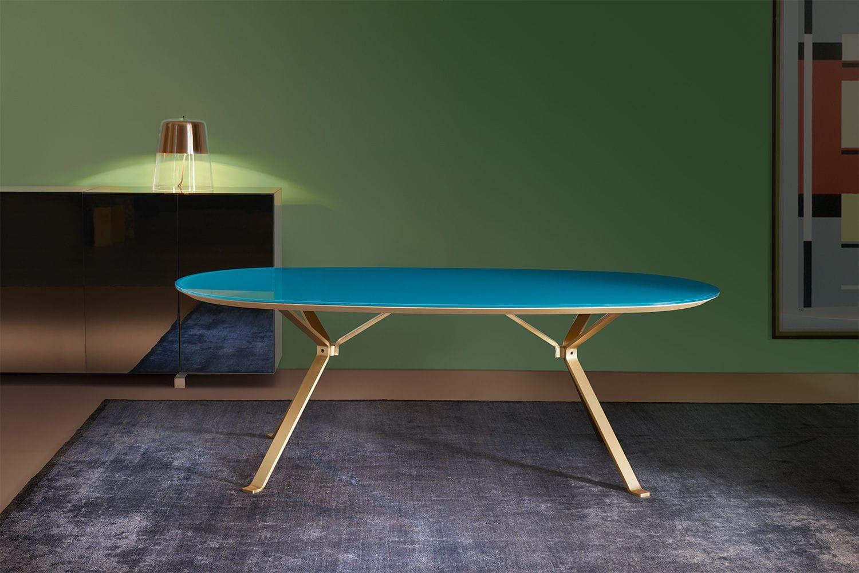 Modern tisch holz für innenbereich oval reflection manerba