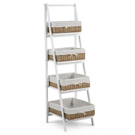 Bainbridge Bathroom Ladder Shelf With Baskets Bathroom Ladder Shelf Basket Shelves Bathroom Ladder