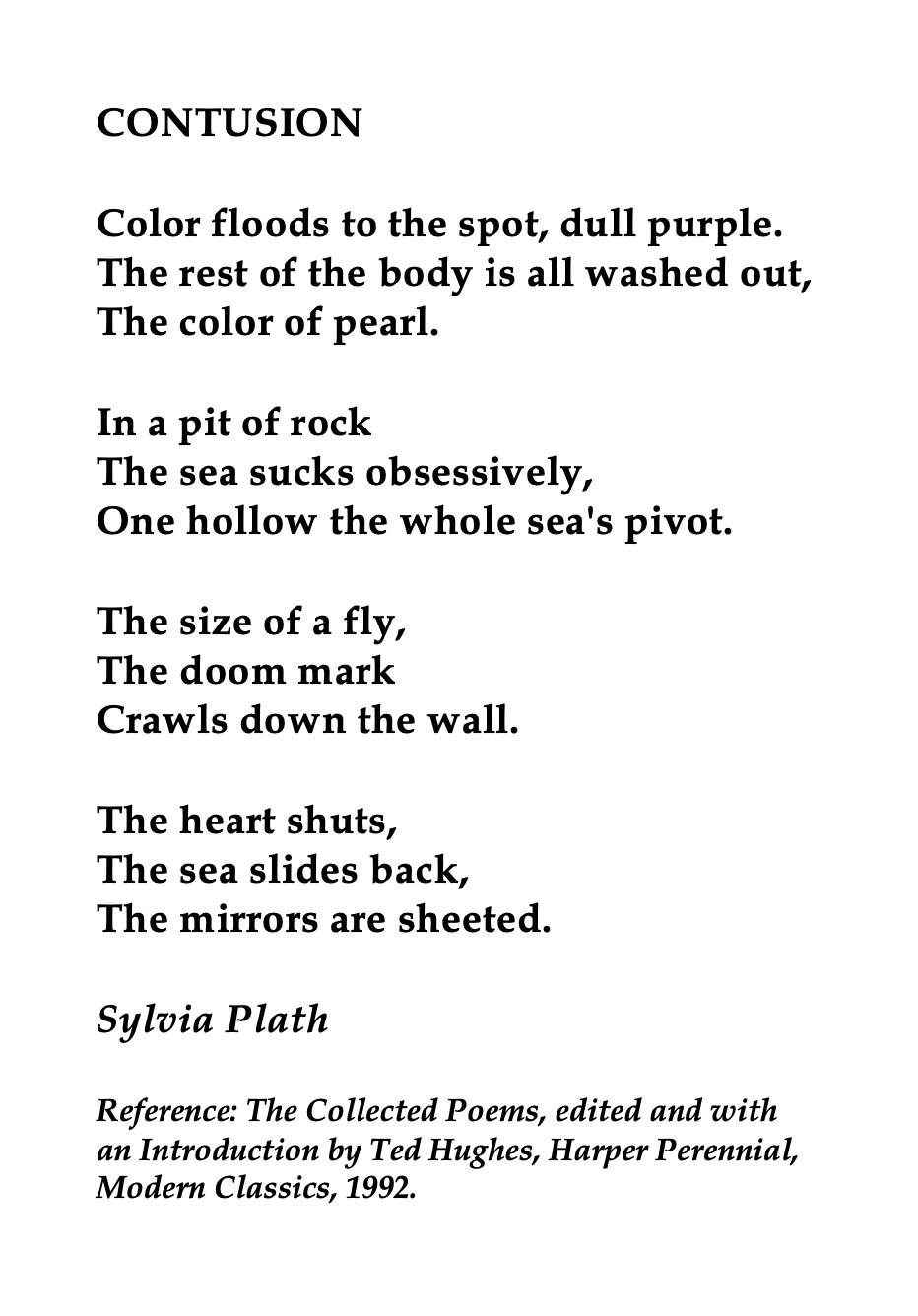 Sylvia Plath Contusion Poem Moon Wind By Ted Hughe Paraphrase